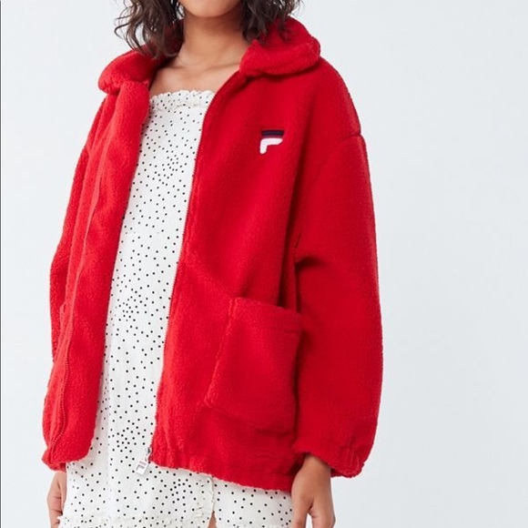 FILA UO Exclusive Red Diana Zip-Front Teddy Jacket